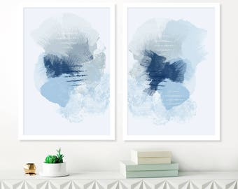 Pale Blue Abstract Art, Set of 2 Watercolour and Acrylic Paintings, Baby Boys Nursery Art Prints, Printable Modern Art, Calming Original Art