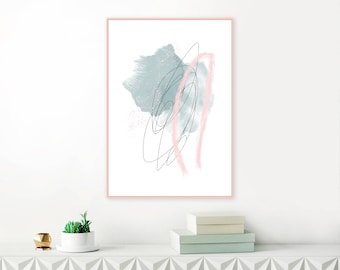Sage Green and Blush Pink Abstract Art,  Modern Minimalist Art Print