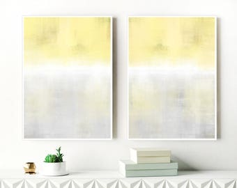 Calming Yellow and Grey Ombre Prints, Yellow, White and Grey Abstract Art, Set Of 2 Minimalist Paintings