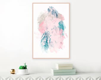 Contemporary Pink, Navy and Teal Abstract Art, Downloadable Painting