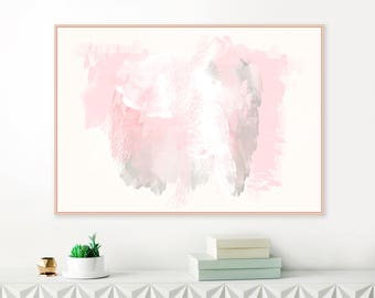 Large Abstract Painting, Pink and Grey Wall Art, Horizontal Wall Art, Digital Download, Oversized Wall Art, Mixed Media Art