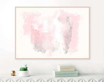 Large Abstract Painting, Pink and Grey Wall Art, Horizontal Wall Art, Digital Download, Oversized Wall Art, Mixed Media Art