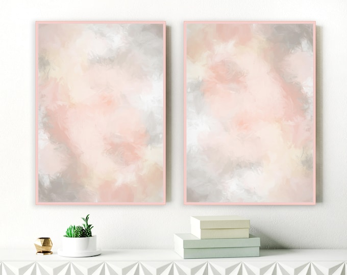 Set of 2 Printable Blush Pink and Grey Paintings, Modern Lounge Art, Extra Large Wall Art