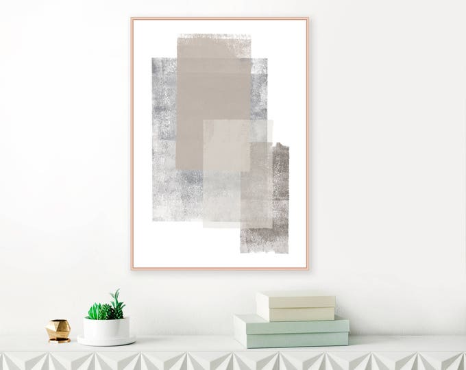 Grey and Brown Minimalist Abstract Art, Large Modern Painting