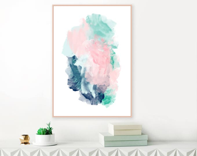 Large Abstract Art, Turquoise, Pink and Navy Abstract Painting