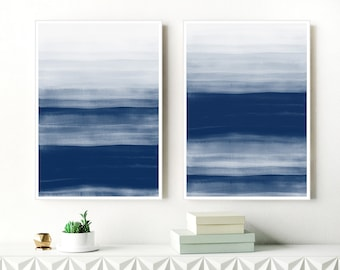 Abstract Watercolour Paintings, Set of two Prints, Navy Blue Abstract Art, Large Indigo Paintings