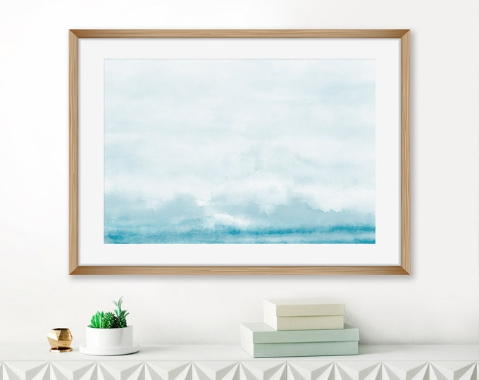 Abstract Watercolour Print, Tranquil Watercolour Painting, Pale Blue Abstract Art, Beach House Decor, Extra Large Living Room Print