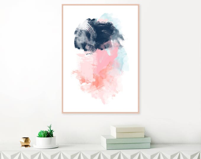 Pink and Navy Abstract Art, Pink and Blue Wall Art, Large Pink Painting, Printable Modern Abstract Print, Extra Large Wall Art