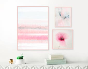 Pastel and Floral Gallery Wall Art Prints, Framed Prints Set, Art for Nursery, Living Room and Office