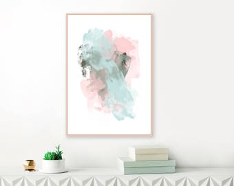 Blue and Pink Contemporary Art Print