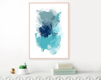 Blue Abstract Mixed Media Print, Large Downloadable Art
