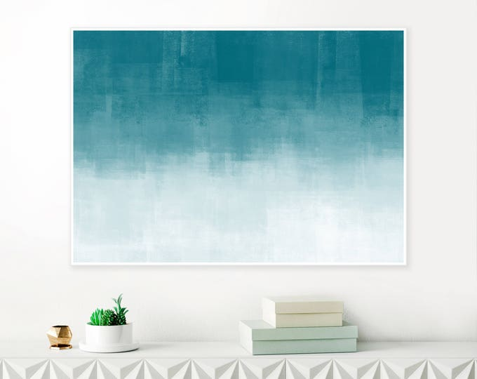 Oversized Teal and White Ombre Art, Minimalist Abstract Print