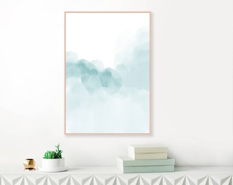 Blue Abstract Art, Pale Blue Art Print, Large Blue Watercolour Painting, Printable Modern Art, Original Art, Extra Large Wall Art