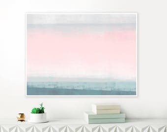 Oversized Pink, Teal and Grey Abstract Art, Ombre Pastel Art Print, Large Printable Painting
