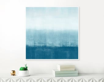 Large Minimalist Painting, Blue and White Abstract Art, Large 40 x 40 Acrylic Painting