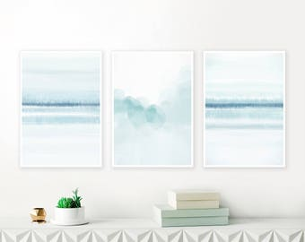 Printable Pale Blue Gallery Wall Art, Set of 3 Beach House Paintings, Contemporary Watercolour Art Prints