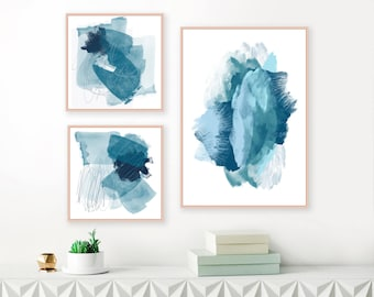 A Set of Three Gallery Wall Abstract Paintings, 3 Original Blue Abstract Art Prints
