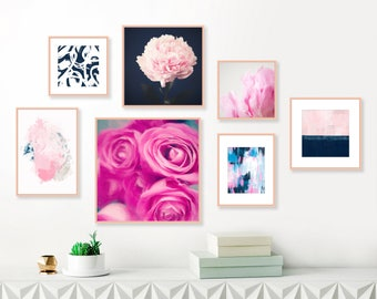 Gallery Wall Prints, Pink Navy Wall Art, Set of 7 Prints, Modern Wall Art, Wall Art Set, Floral Prints, Contemporary Paintings, Gift For Her