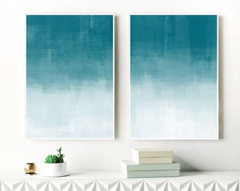 Teal and White Ombre Art Prints, Set Of 2 Minimalist Abstract Paintings