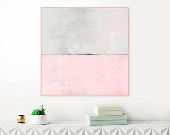 Pink and Grey Abstract Art, Large Downloadable Painting, Modern Abstract Print, Pink Minimalist Painting, Original Wall Art, Large Wall Art