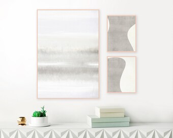 Grey Abstract Art, Set of 3 Prints, Minimalist Grey Gallery Wall Art, Contemporary Printable Paintings