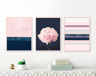 Pink and Navy Gallery Wall Art, Set of 3 Prints, Modern Prints, Abstract Art, Peony Print, Bedroom Art, living Room Art Wall
