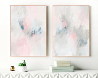 Set of Two Art Prints, Grey, Pink and Navy Abstract Art