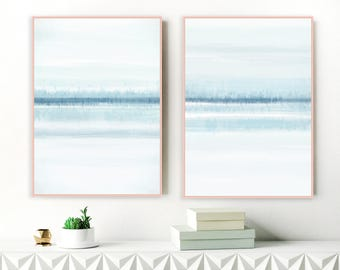 Blue Abstract Paintings, Set of 2 Blue and White Art, Beach House Art, Diptych Wall Art, 24x36 Prints, Calming Art, Extra Large Art