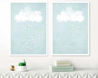 Blue Cloud Paintings, Set of Pale 2 Blue and White cloud prints, Above Crib wall art, Printable Abstract Art, Baby Boys Nursery Art