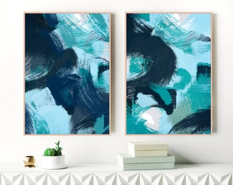 Navy Blue Paintings, Set of Two Art Prints, Navy Wall Art, 24x36 Art Prints, Living Room Wall Art, Oversized Wall Art