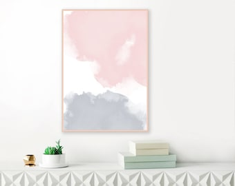 Blush Pink and Grey Watercolour Print, Printable Living Room Decor