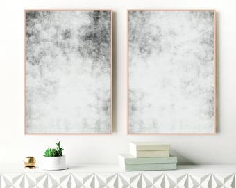 Minimalist Grey Abstract Art, Set of Two Large Gray Abstract Paintings