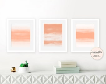 Orange Wall Art, Set of 3 Art Paintings, Abstract Art, Orange Nursery Decor, Gallery Wall Art, Printable Wall Art