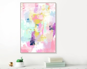 Pink Abstract Art, Colourful Abstract Painting, Purple, Pink, Turquoise, Blue and Yellow, Printable Modern Art, Original Art, Spring Decor