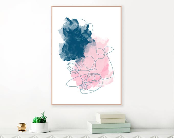Large Pink and Navy Blue Abstract Art, Downloadable Watercolour Painting