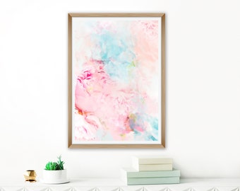 Abstract Peony Painting, Pink Flower Print, Floral Art, Pastel Pink Abstract Art, Flower Print,  Mixed Media Art, Large Wall Art