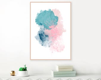 Teal, Pink and Navy Blue Abstract Art, Modern Downloadable Painting