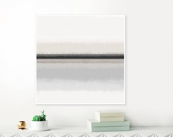 Large Grey Abstract Art, 40x40 Printable Art, Minimalist Grey, Black and Beige Color Field Painting, High End Wall Art