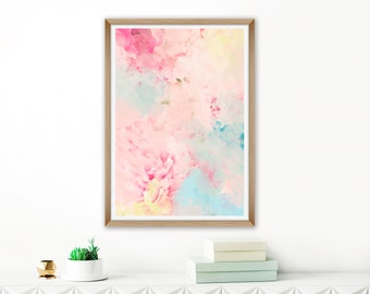 Abstract Peony Painting, Floral Print, Colourful Flower Art, Pale Pink Abstract Art, Large Flower Print, Collage Art, Oversized Wall Art