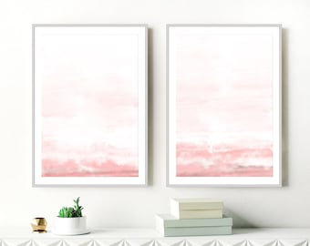 Set of 2 Pink Watercolour Paintings,  Dusty Pink Abstract Art, Lounge Paintings, Printable Nursery Art