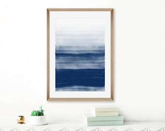 Navy Abstract Print, Indigo Wall Art, Printable Watercolor Painting, Abstract Licing Room Art, Modern Art Print, 24x36 Print