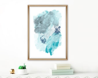 Blue Abstract Art, Oversized Art Print, Watercolour Art, Mixed Media Print, 24x36 Art Print