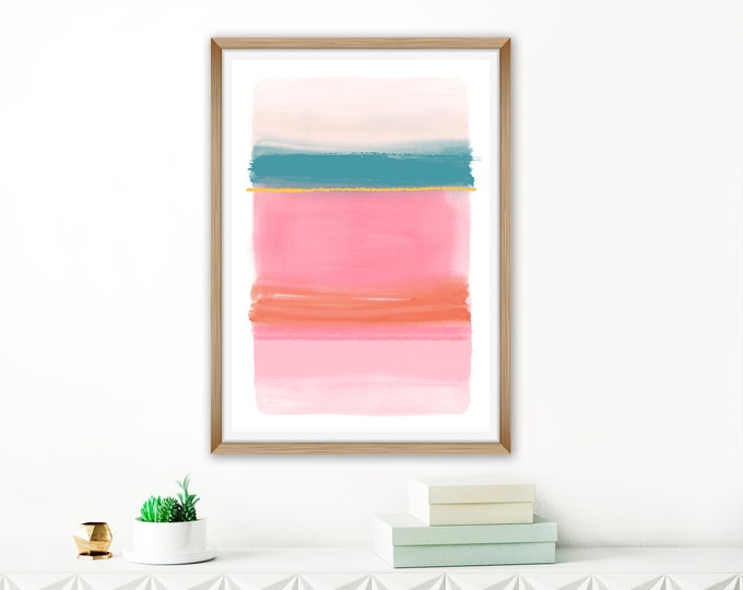 Colourful Watercolour Painting, Contemporary Abstract Art, Pink Living Room Print, Simple Modern Art, Pink Teal Orange Art, Kids Room Art