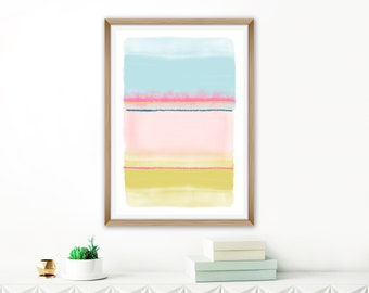 Colourful Mixed Media Art, Large Printable Abstract, Oversized Wall Art, Pastel Lounge Painting