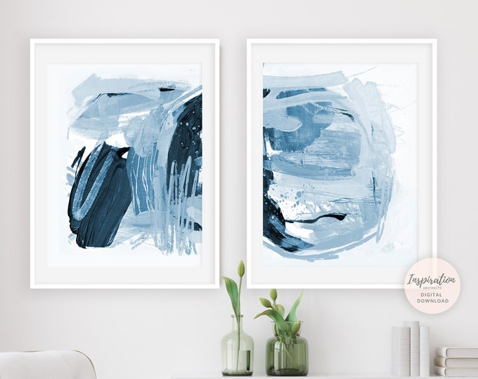 Set of 2 Abstract Paintings, Navy Blue Wall Art,  18x24 Art Prints, Living Room Decor, Printable Art, Mixed Media Art, Modern Art