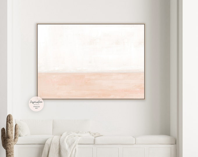 Minimal Cream And Blush Canvas Art, Pastel Wall Art, Large Abstract Painting, Coastal Wall Art, Modern Art, Abstract Art, Rothko Inspired