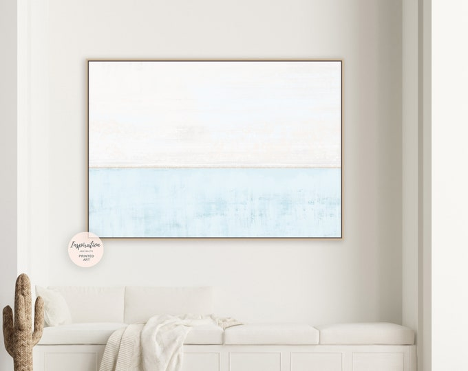 Minimal Blue And Cream Canvas Art, Large Abstract Painting, Coastal Wall Art, Modern Art, Abstract Art, Rothko Inspired, Pastel Wall Art