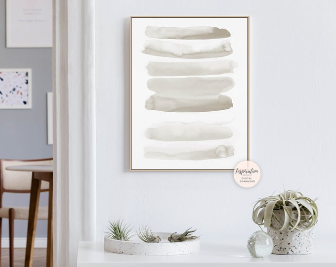 Minimal Brushstrokes Print, Watercolour Print, Minimalist Art, Abstract Art, Printable Art, Neutral Decor, Zen Wall Art, Calming Wall Art