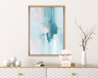 Modern Abstract Art, Printable Abstract Painting, Printable Wall Art, Teal Wall Art, Nursery Wall Art, Living Room Art