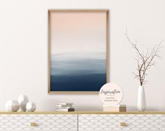 Calming Abstract Art, Blush Pink and Navy Wall Art, Printable Painting, Mixed Media Art, Watercolour and Acrylic Art, Living Room Art